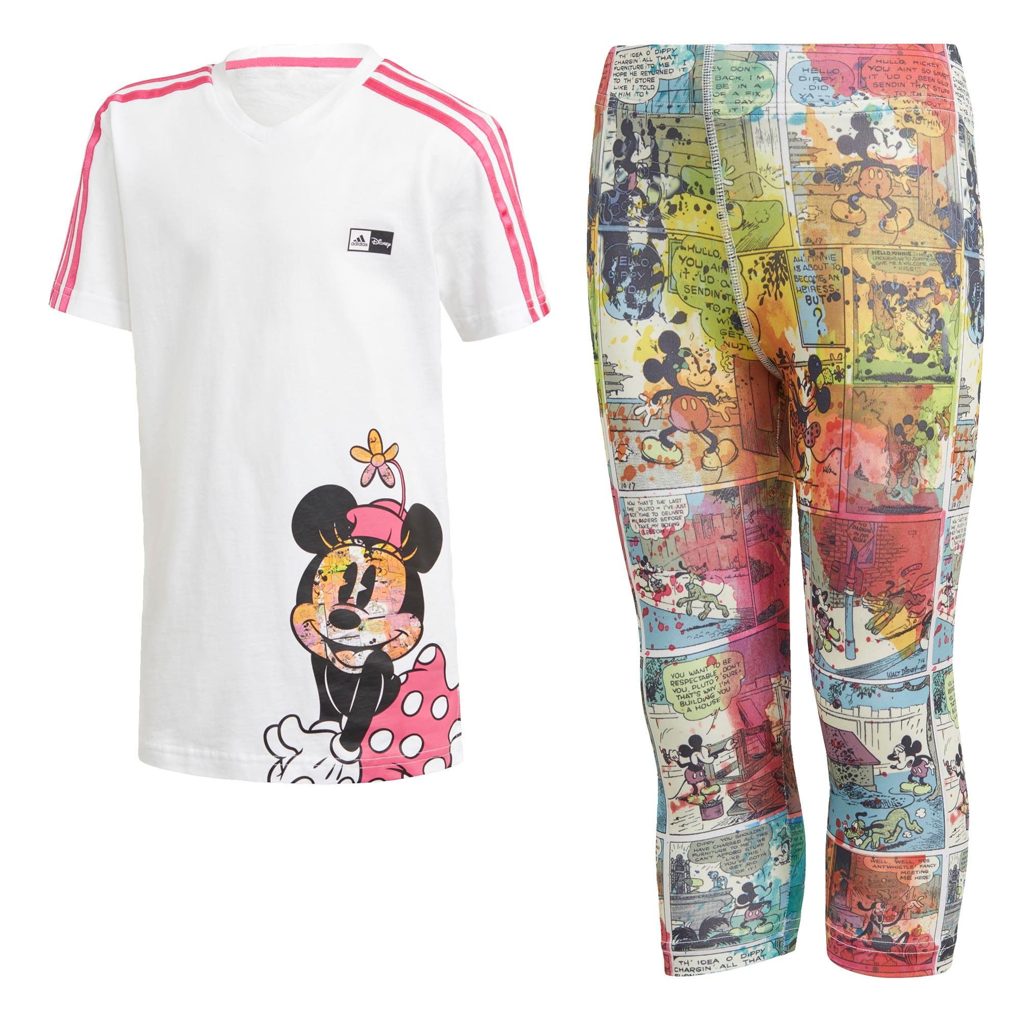 ADIDAS PERFORMANCE Treniruočių kostiumas 'Minnie Mouse' balta / mišrios spalvos / rožinė