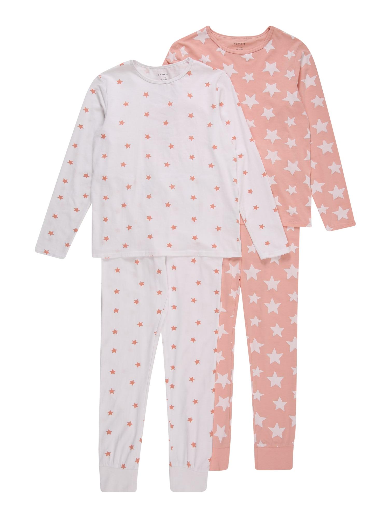 NAME IT Miego kostiumas balta / ryškiai rožinė spalva