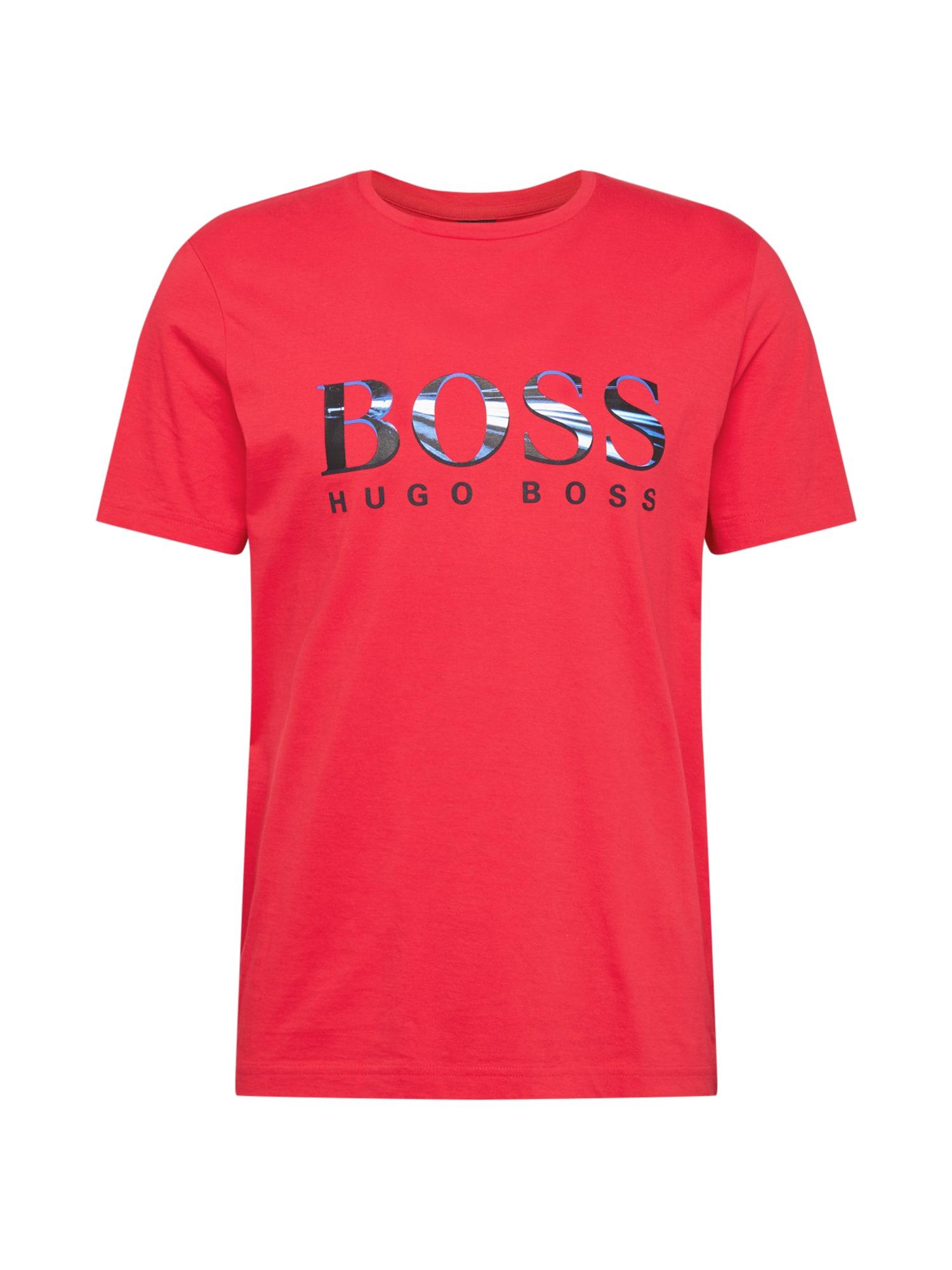 BOSS ATHLEISURE Marškinėliai juoda / mėlyna / balta