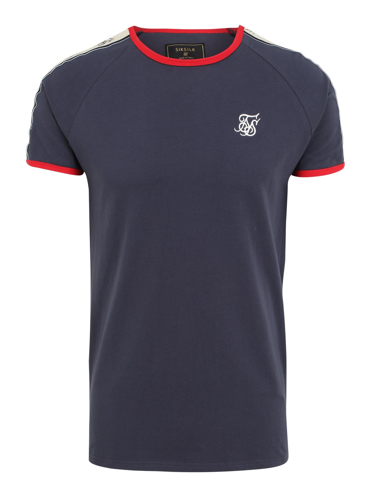 SikSilk Marškinėliai tamsiai mėlyna / raudona / smėlio / balta