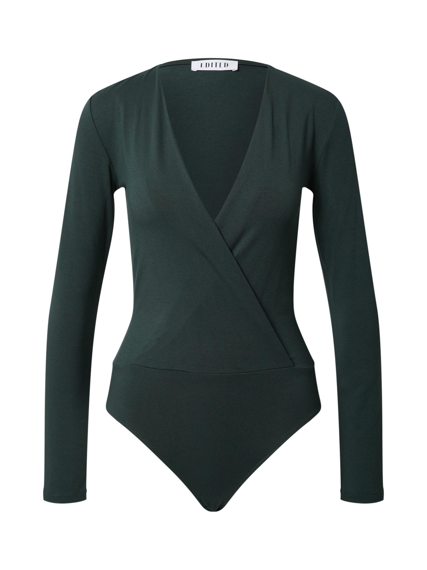 EDITED Marškinėliai-glaustinukė 'Erin' tamsiai žalia / žalia