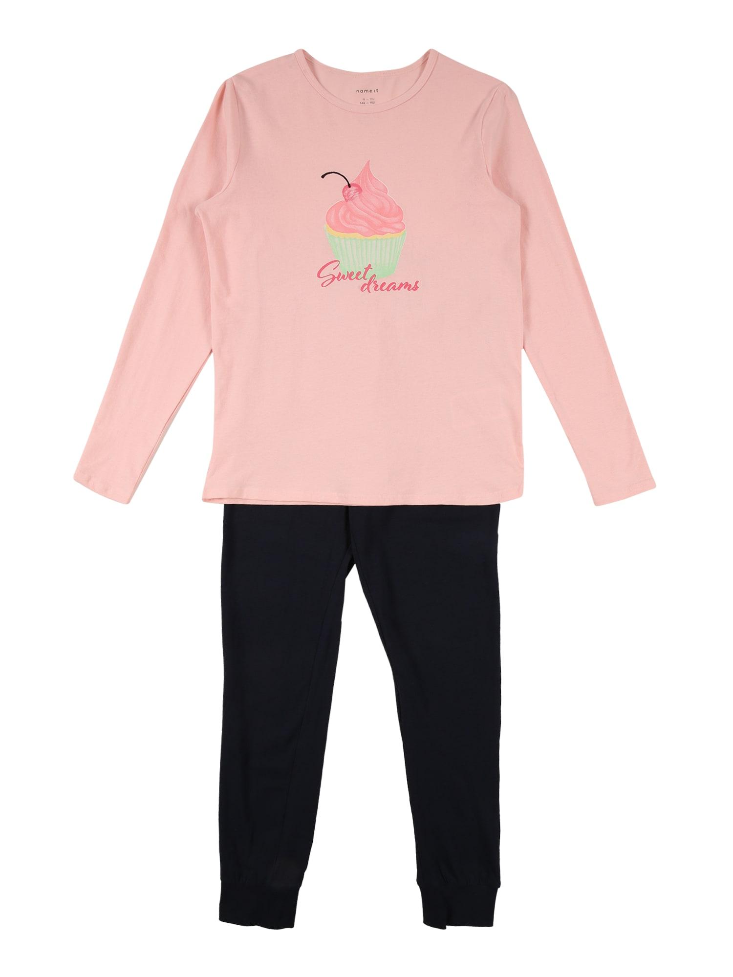 NAME IT Miego kostiumas 'STRAWBERRY CREAM CAKE' tamsiai mėlyna / rožių spalva / rožinė / geltona / žalia