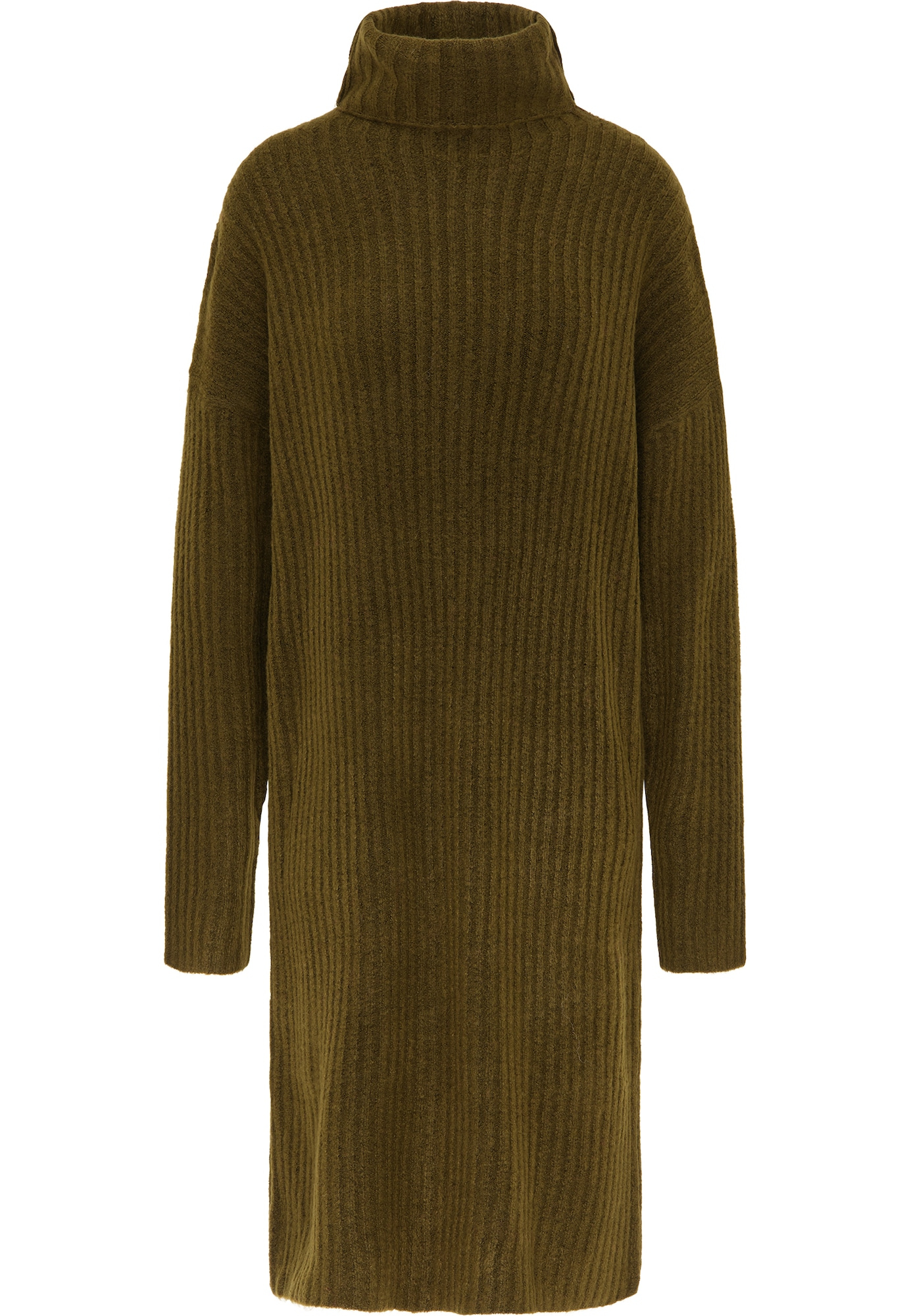 MYMO Megzta suknelė alyvuogių spalva