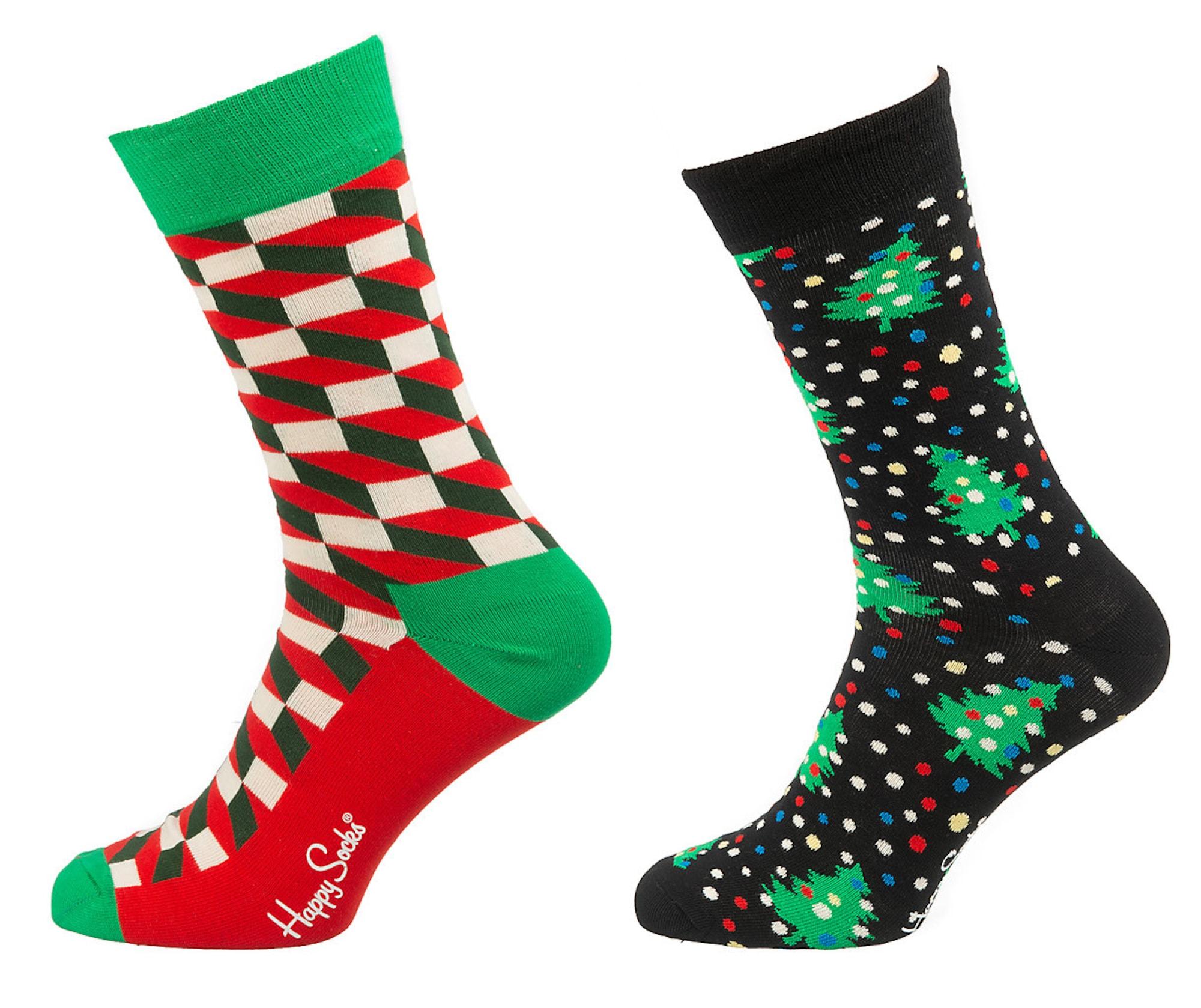 Happy Socks Kojinės juoda / žolės žalia / raudona / balta / mėlyna