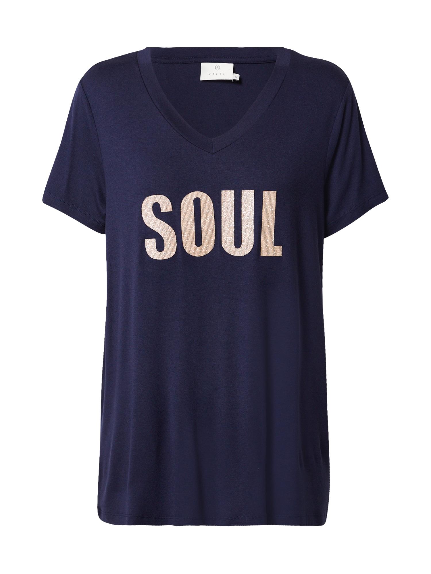 Kaffe Tričko 'Soul'  marine modrá / zlatá