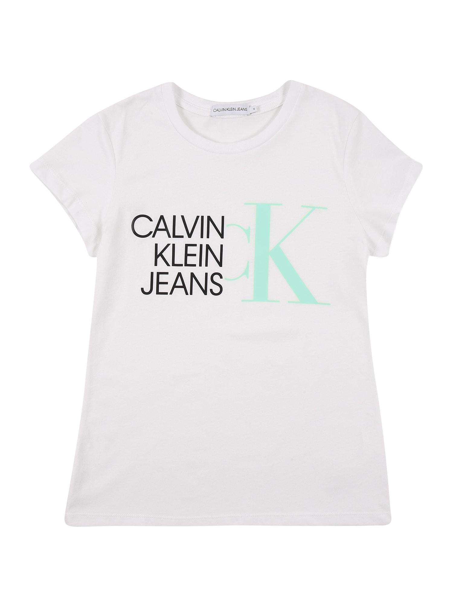 Calvin Klein Jeans Marškinėliai balta / juoda / mėtų spalva