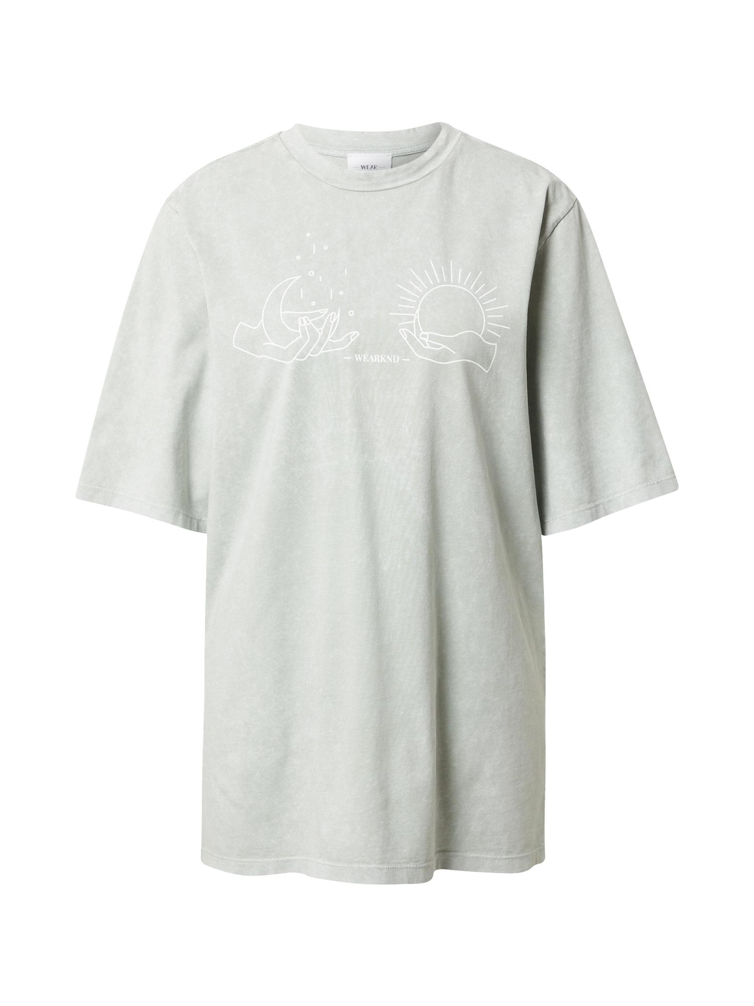 WEARKND Marškinėliai pastelinė žalia / balta