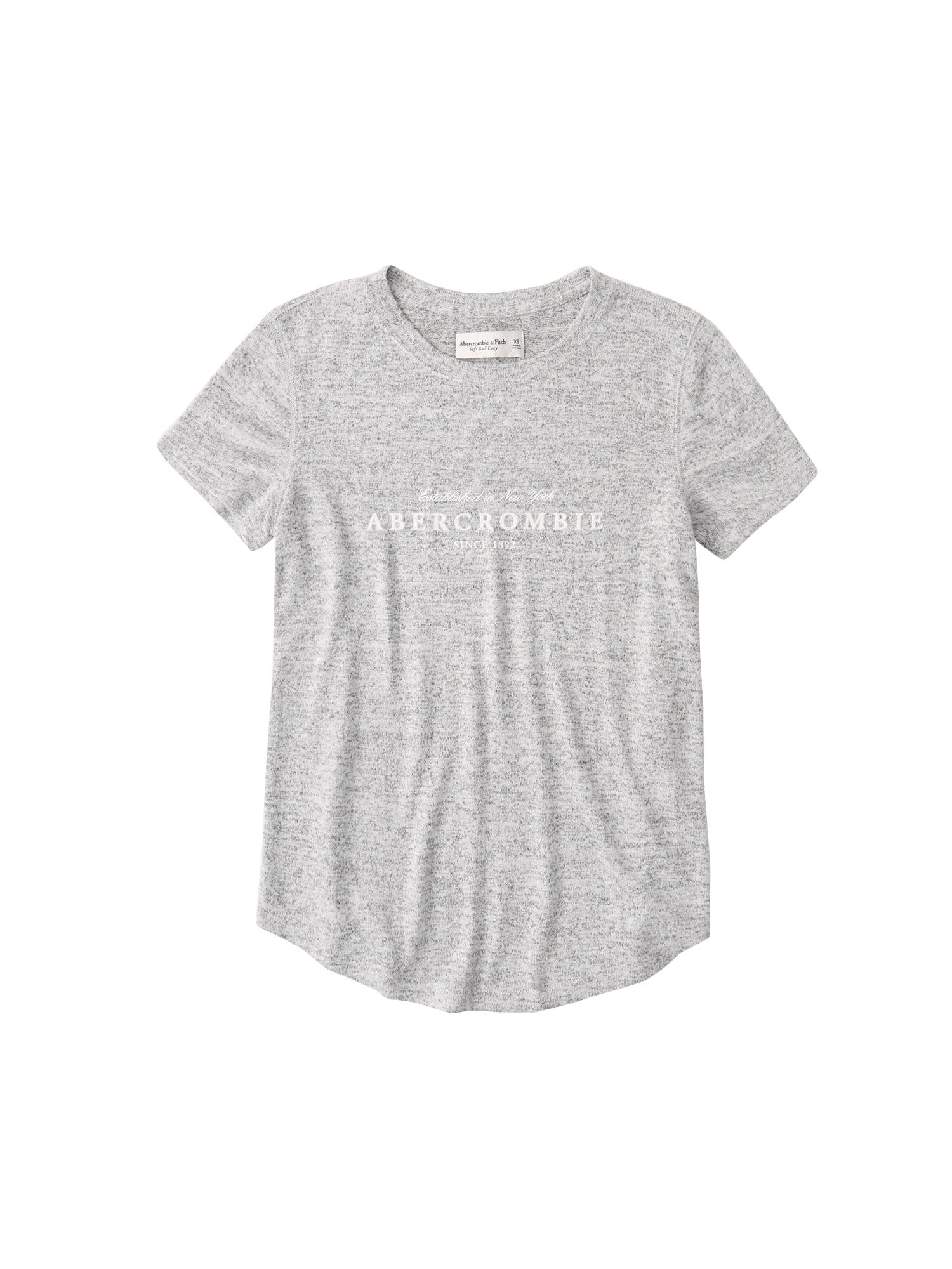 Abercrombie & Fitch Marškinėliai margai pilka / balta