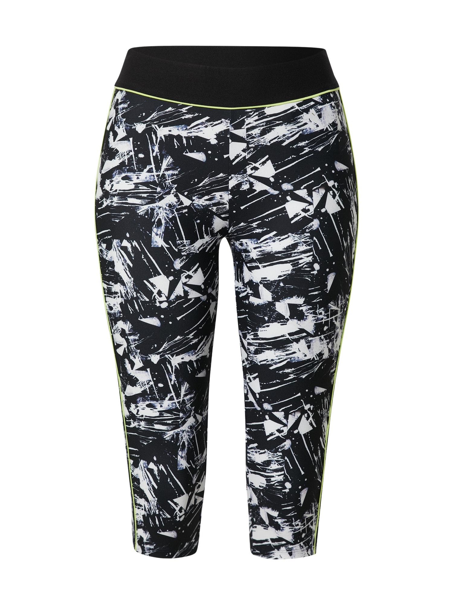 ESPRIT SPORT Sportinės kelnės juoda / balta / neoninė geltona