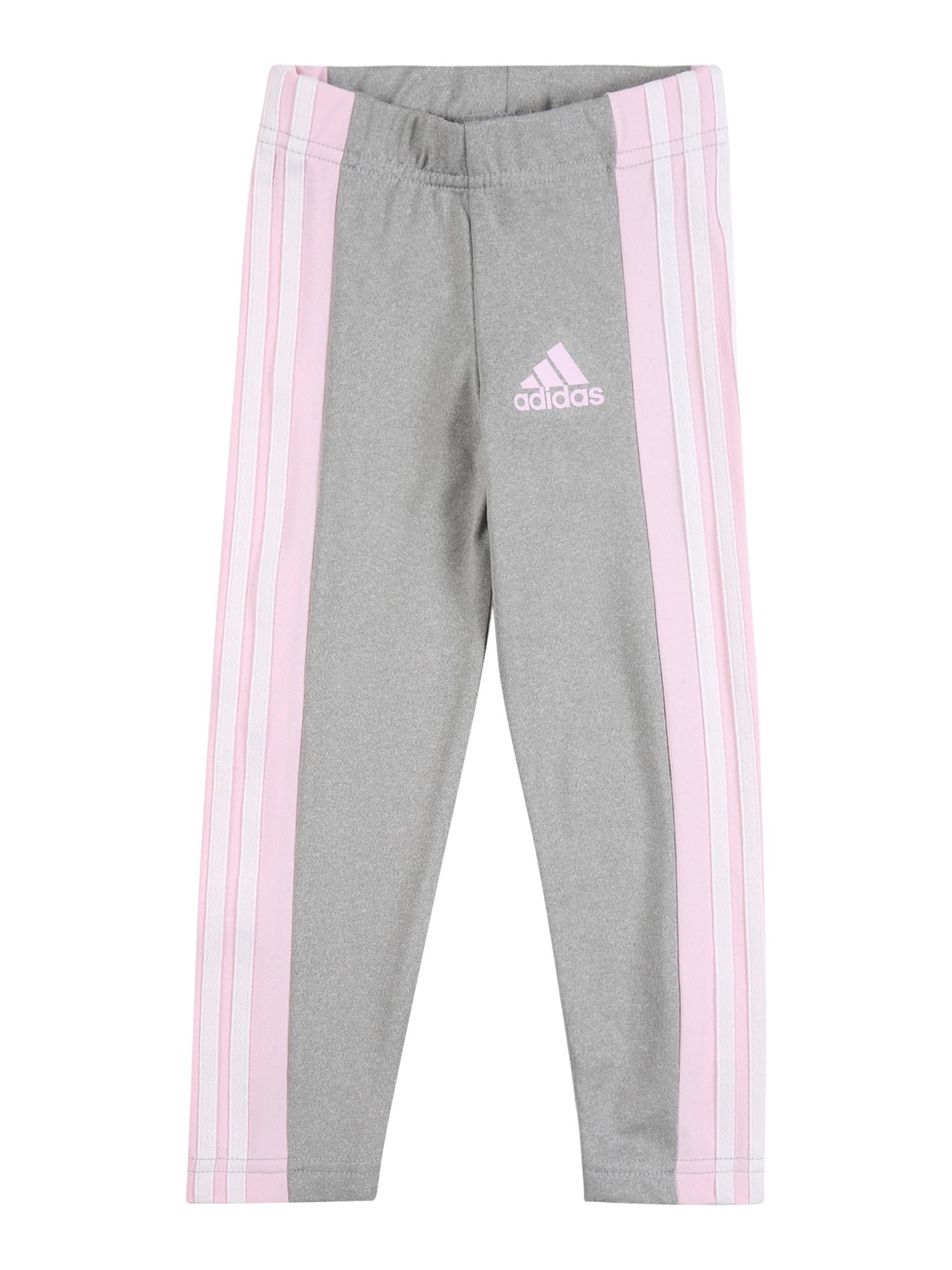 ADIDAS PERFORMANCE Sportinės kelnės pilka / balta / šviesiai rožinė