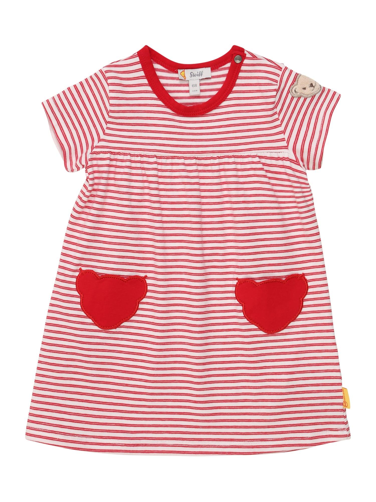 Steiff Collection Suknelė raudona / balta / pastelinė raudona / glaisto spalva