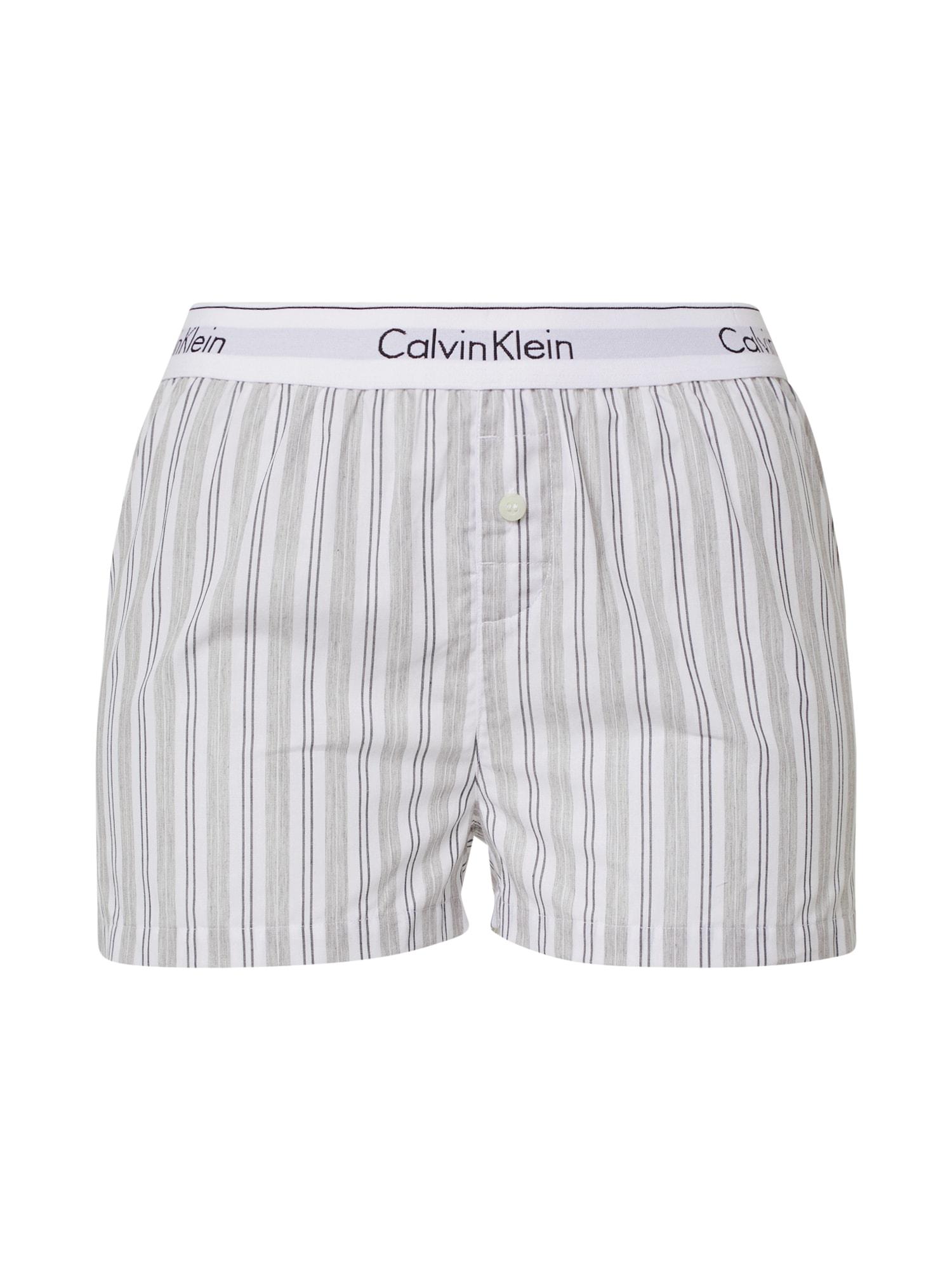 Calvin Klein Underwear Pižaminės kelnės balta / pilka