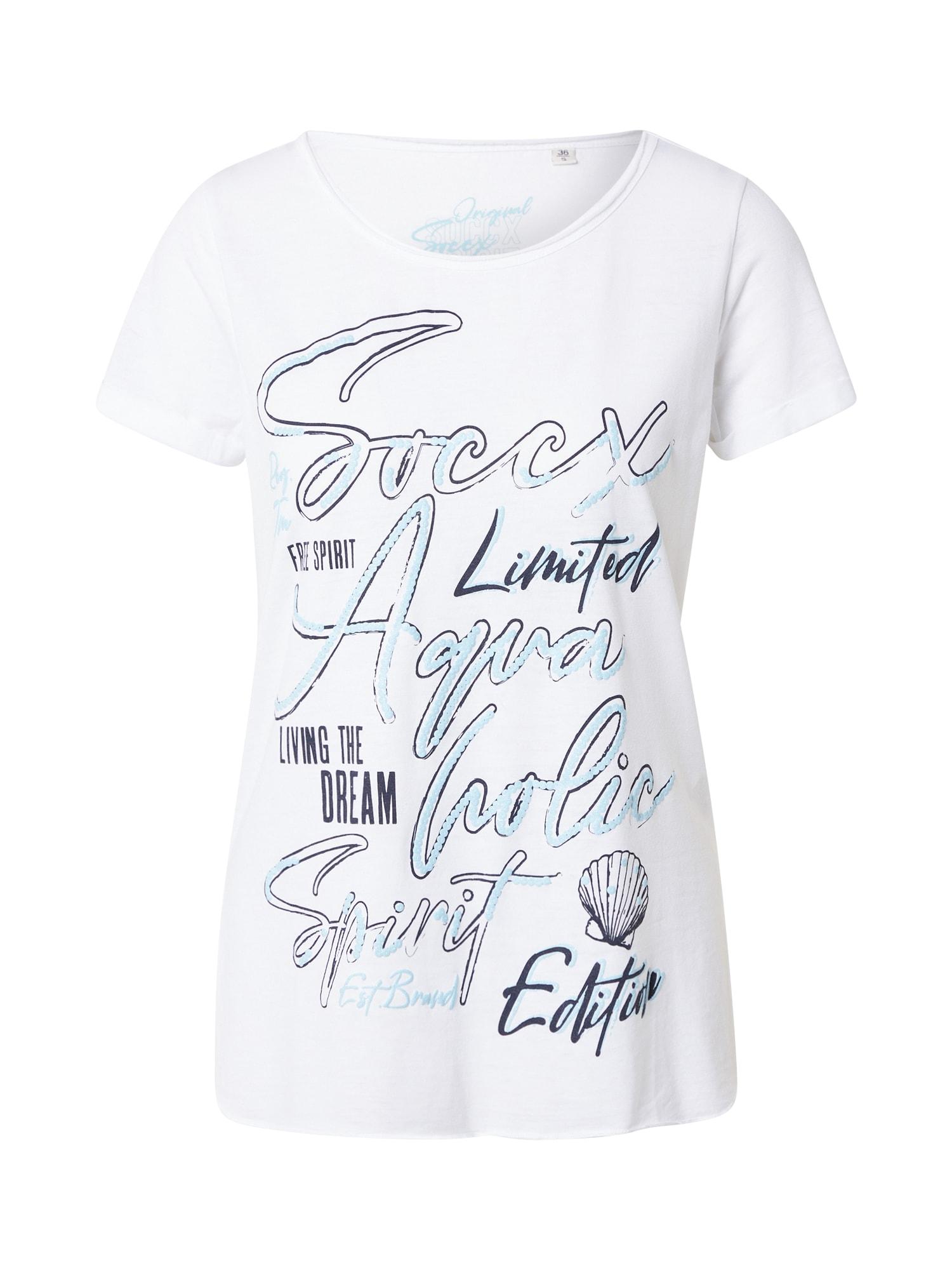 Soccx Marškinėliai balta / šviesiai mėlyna / juoda