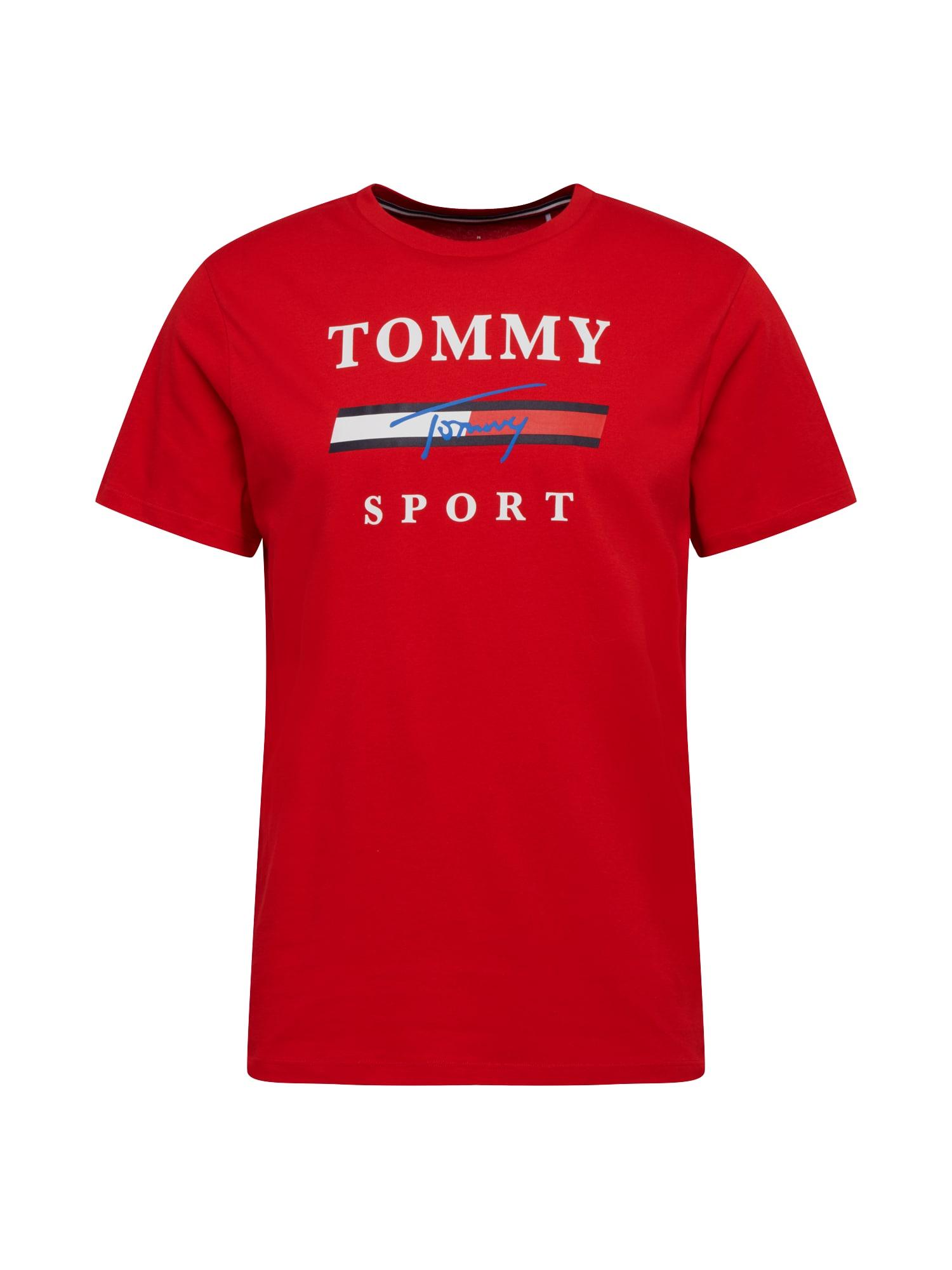 Tommy Sport Sportiniai marškinėliai balta / raudona / mėlyna / kobalto mėlyna