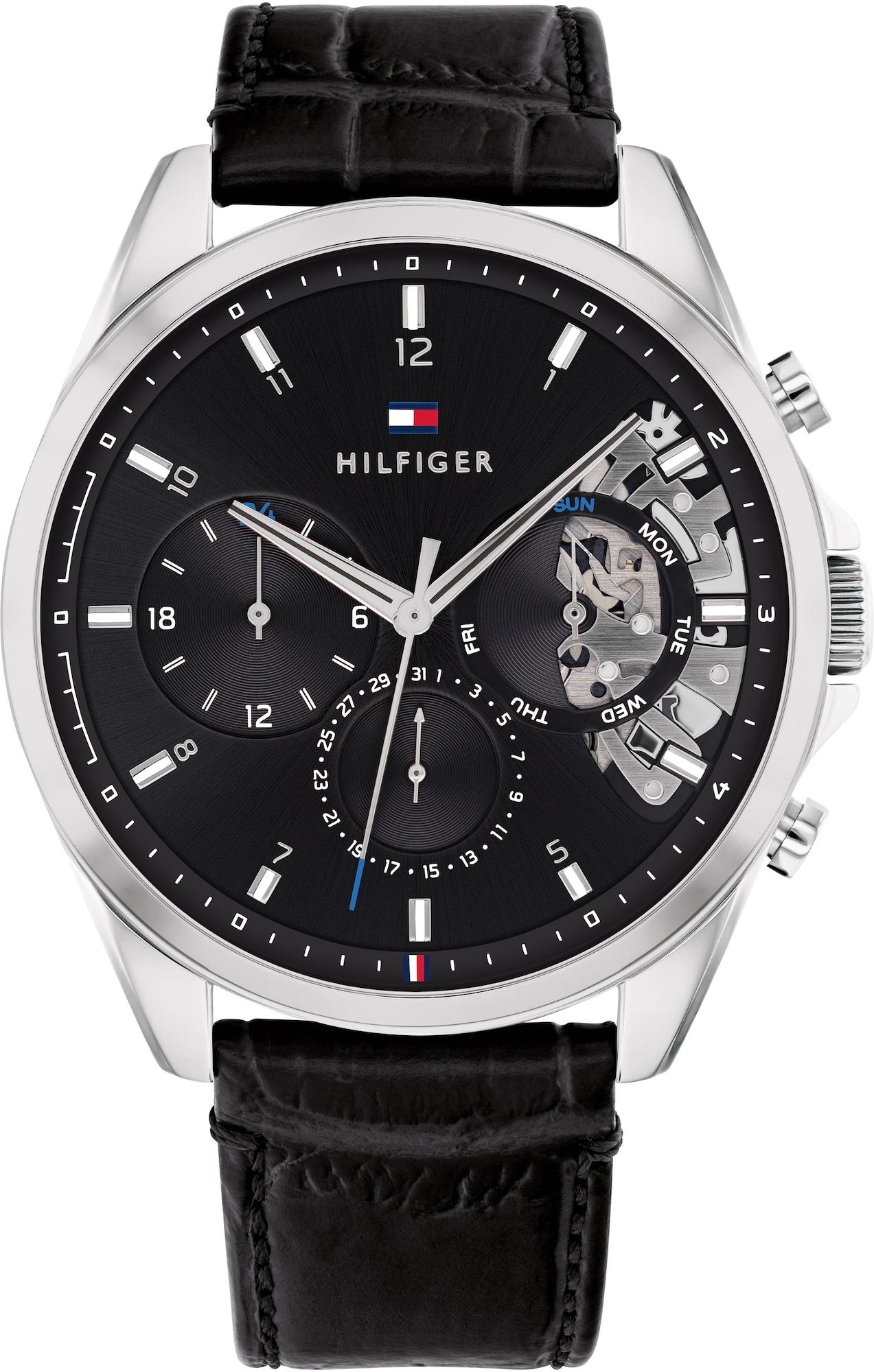 TOMMY HILFIGER Analoginis (įprasto dizaino) laikrodis juoda / sidabrinė / mėlyna / raudona / balta