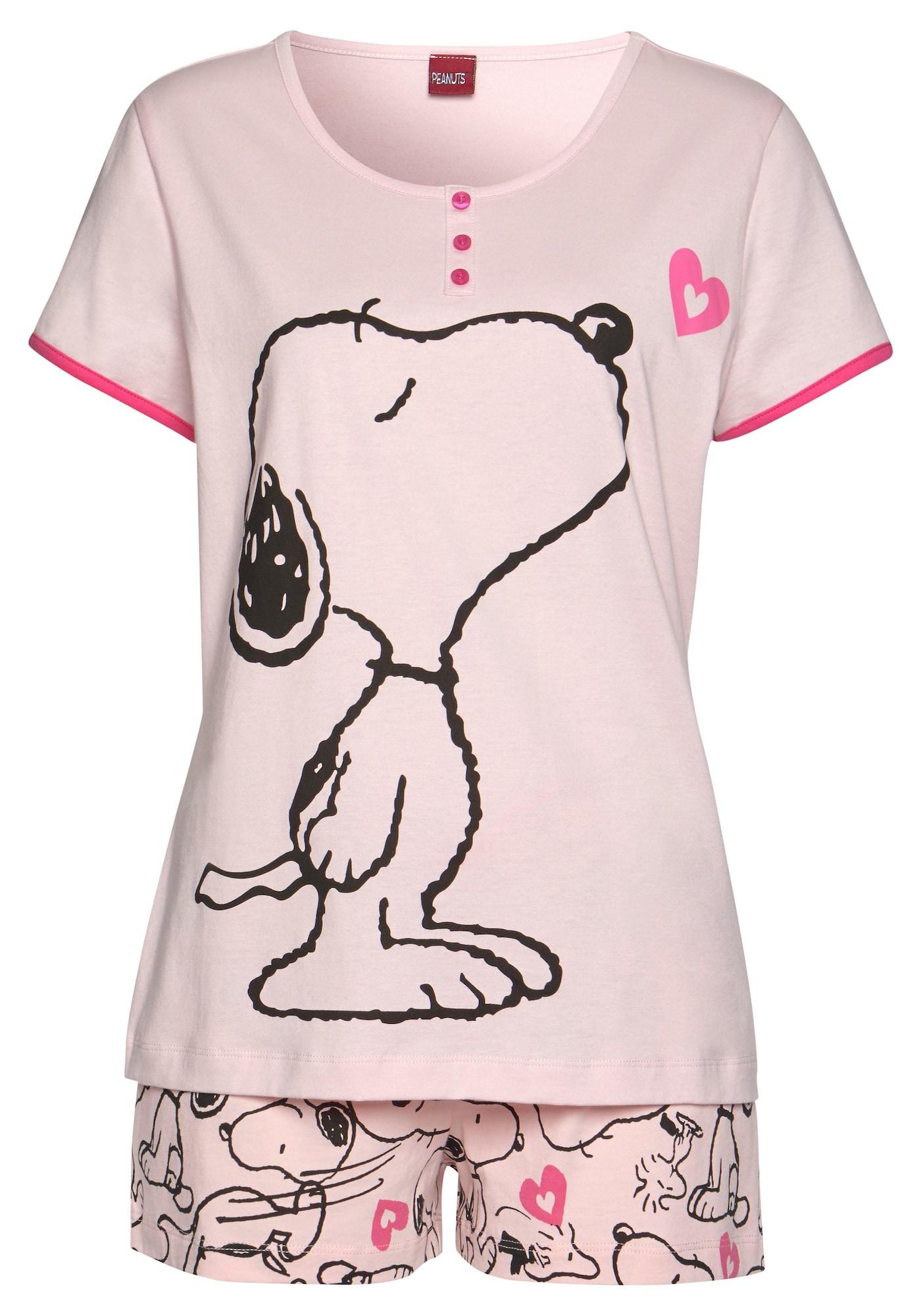 PEANUTS Pižama su šortais juoda / neoninė rožinė / rožių spalva