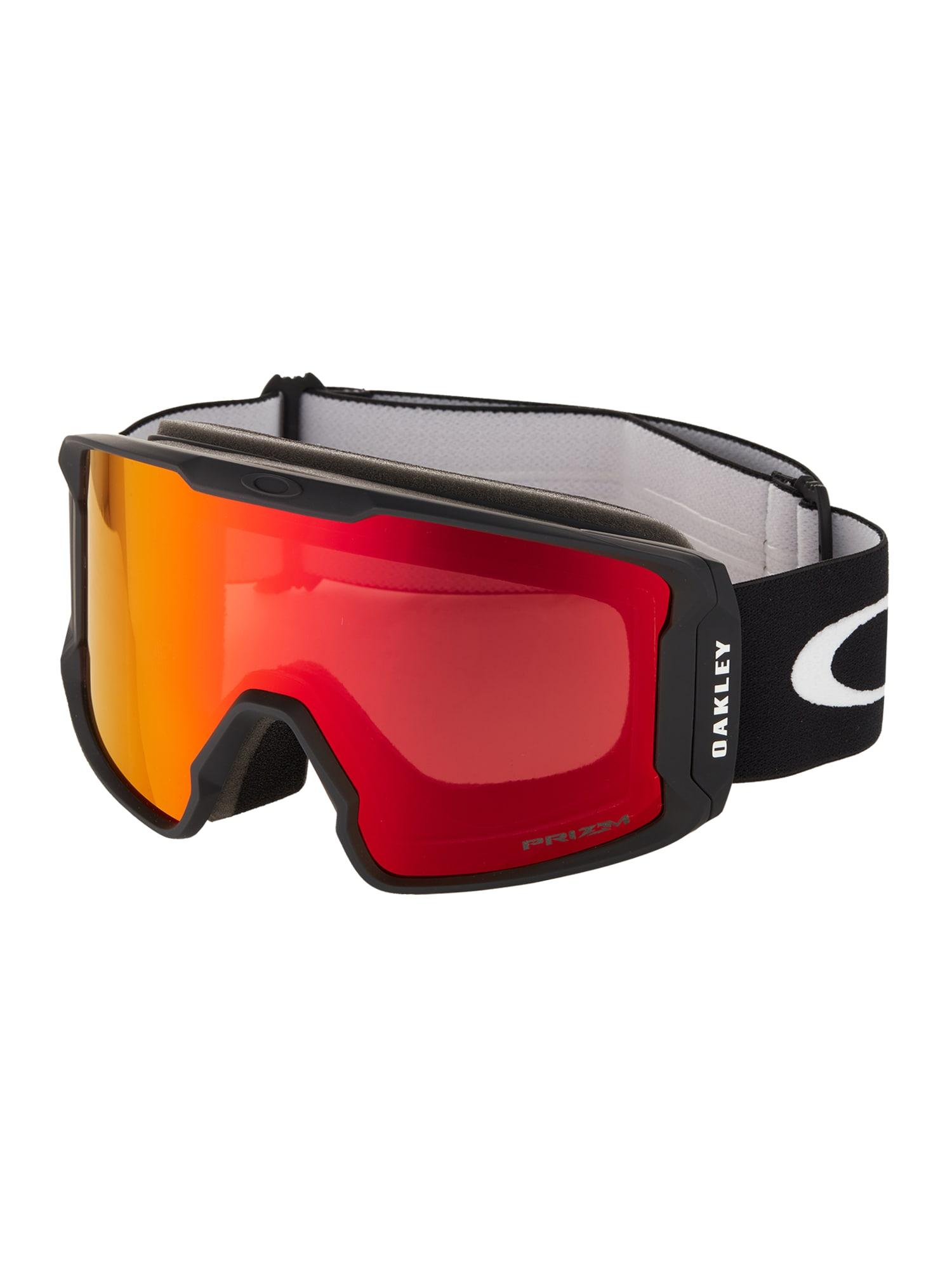 OAKLEY Sportiniai akiniai 'Line Miner' juoda / margai raudona / oranžinė