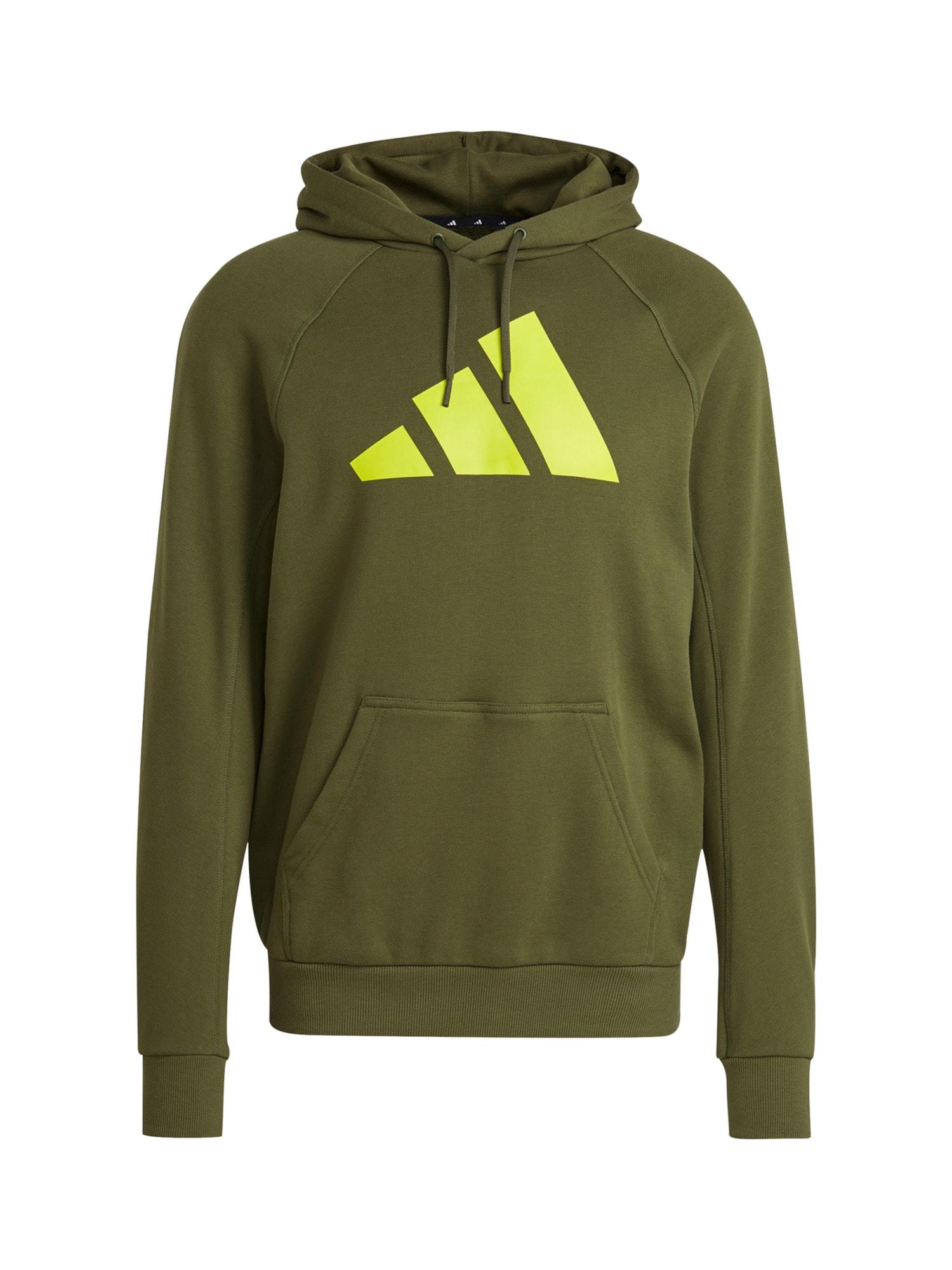ADIDAS PERFORMANCE Sportinio tipo megztinis rusvai žalia / neoninė žalia