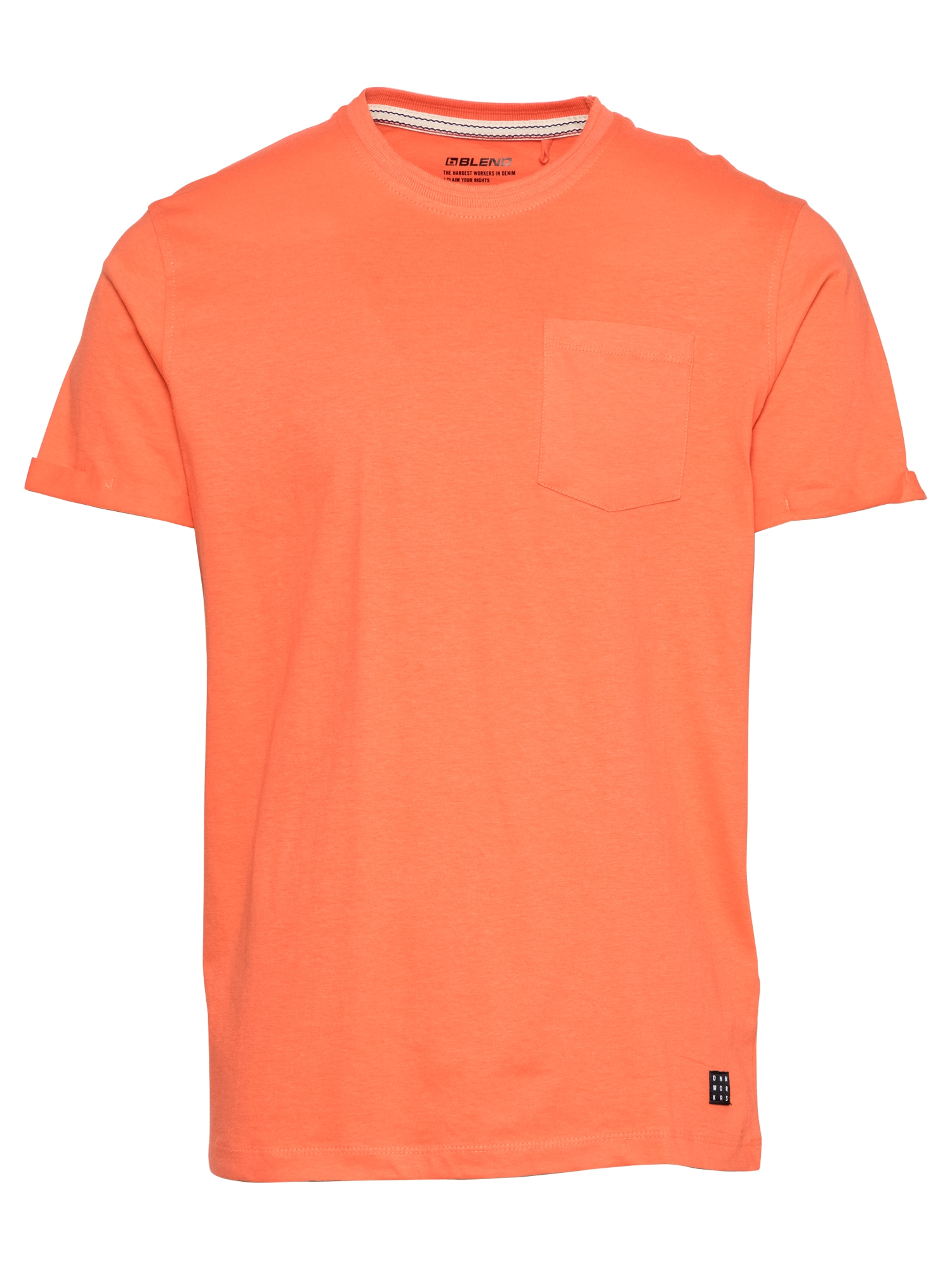 BLEND Marškinėliai koralų splava / juoda / balta