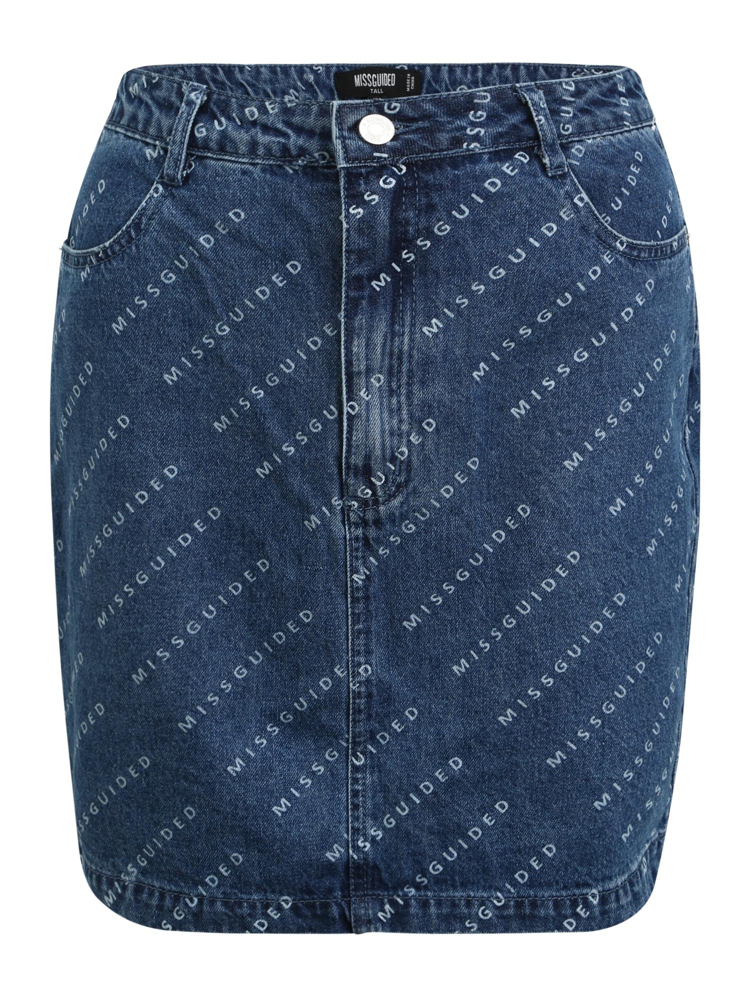 Missguided (Tall) Sijonas tamsiai (džinso) mėlyna / šviesiai mėlyna