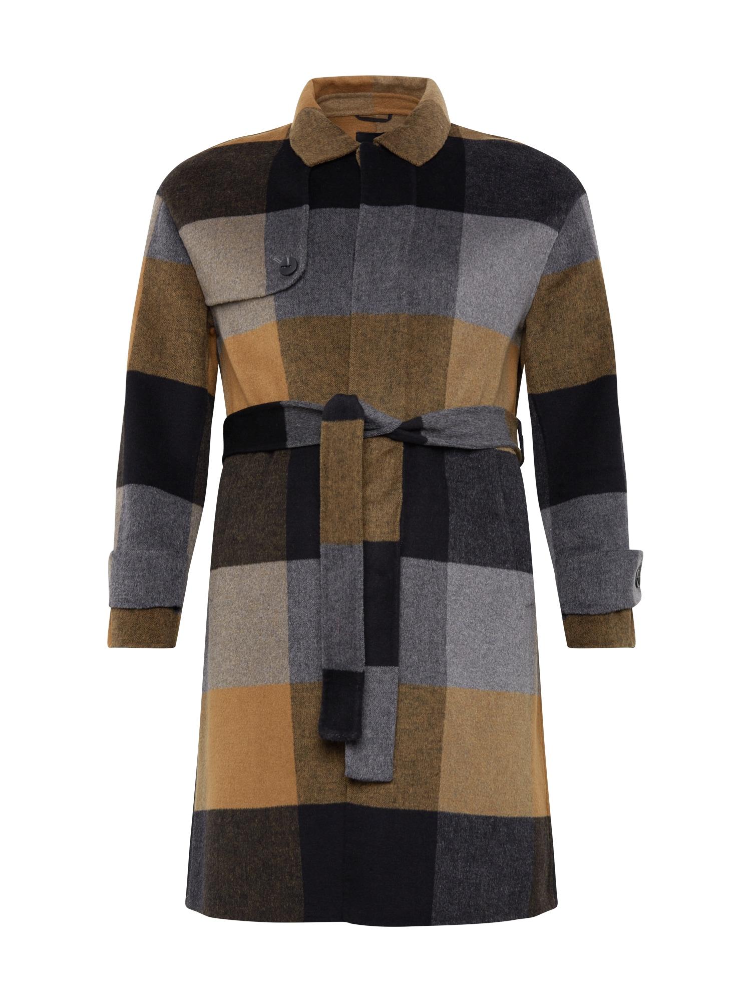 ANTONY MORATO Demisezoninis paltas juoda / pilka / garstyčių spalva