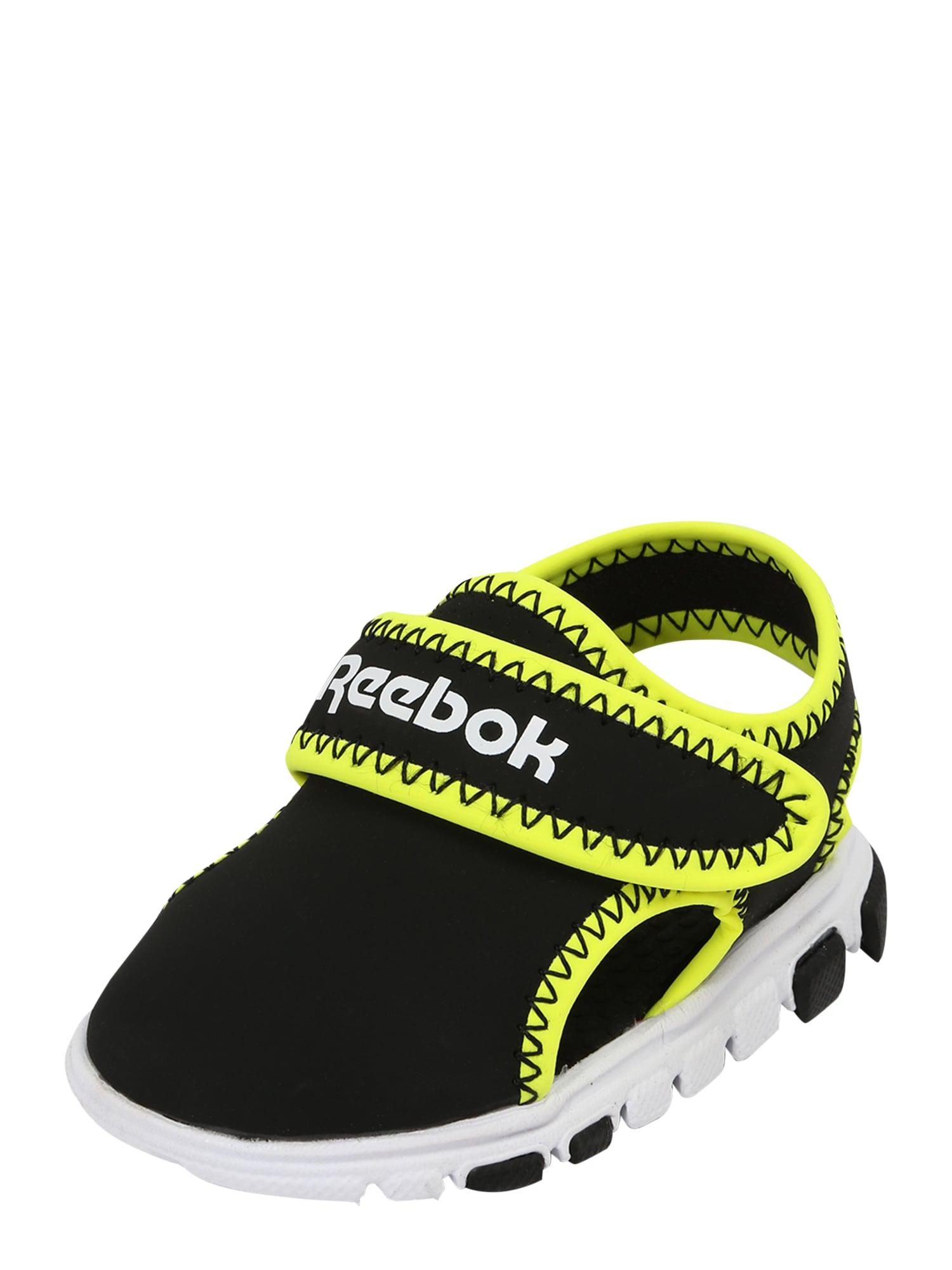 REEBOK Sandalai / maudymosi batai juoda / neoninė žalia / balta