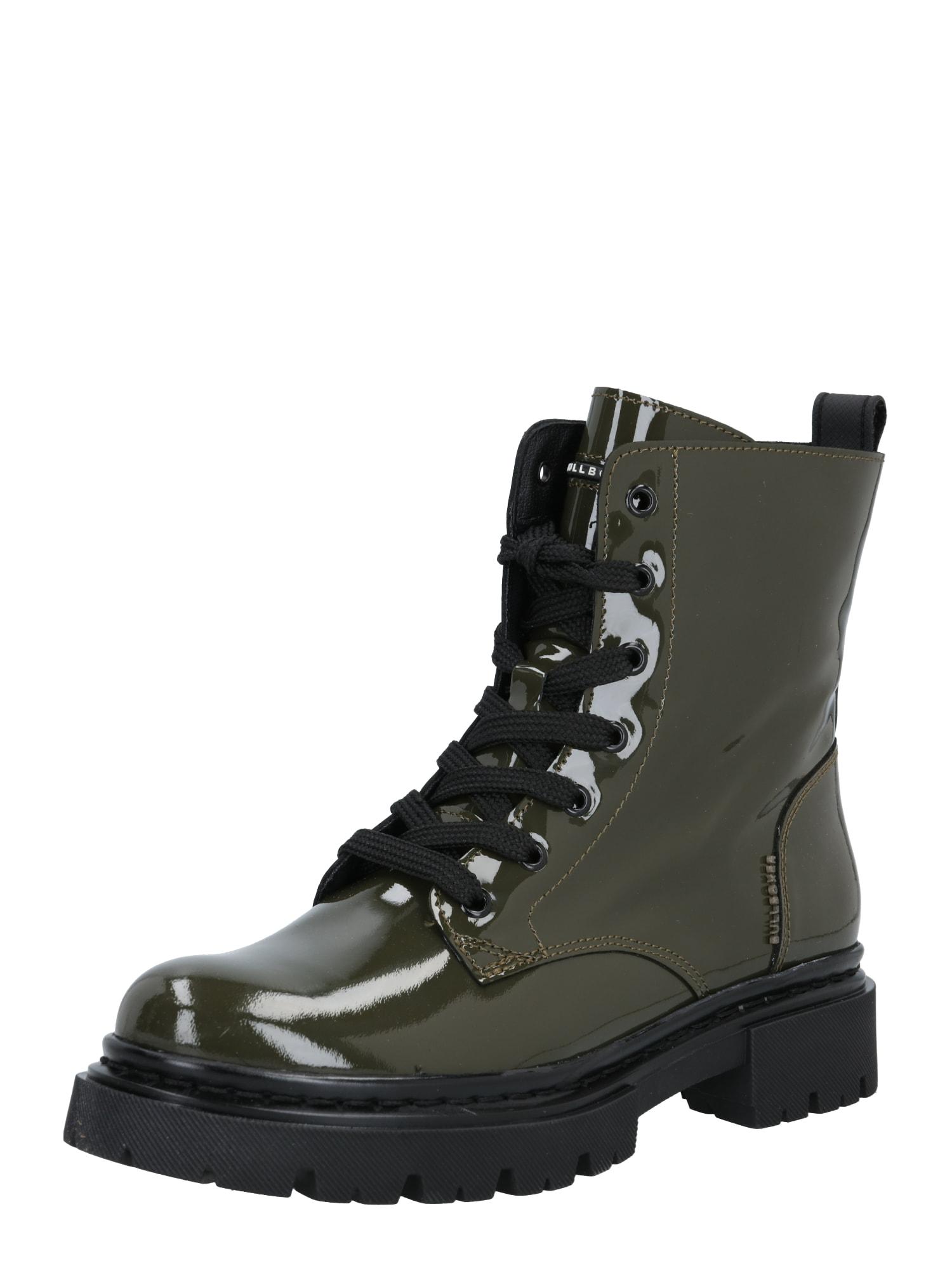 BULLBOXER Suvarstomieji kulkšnis dengiantys batai rusvai žalia