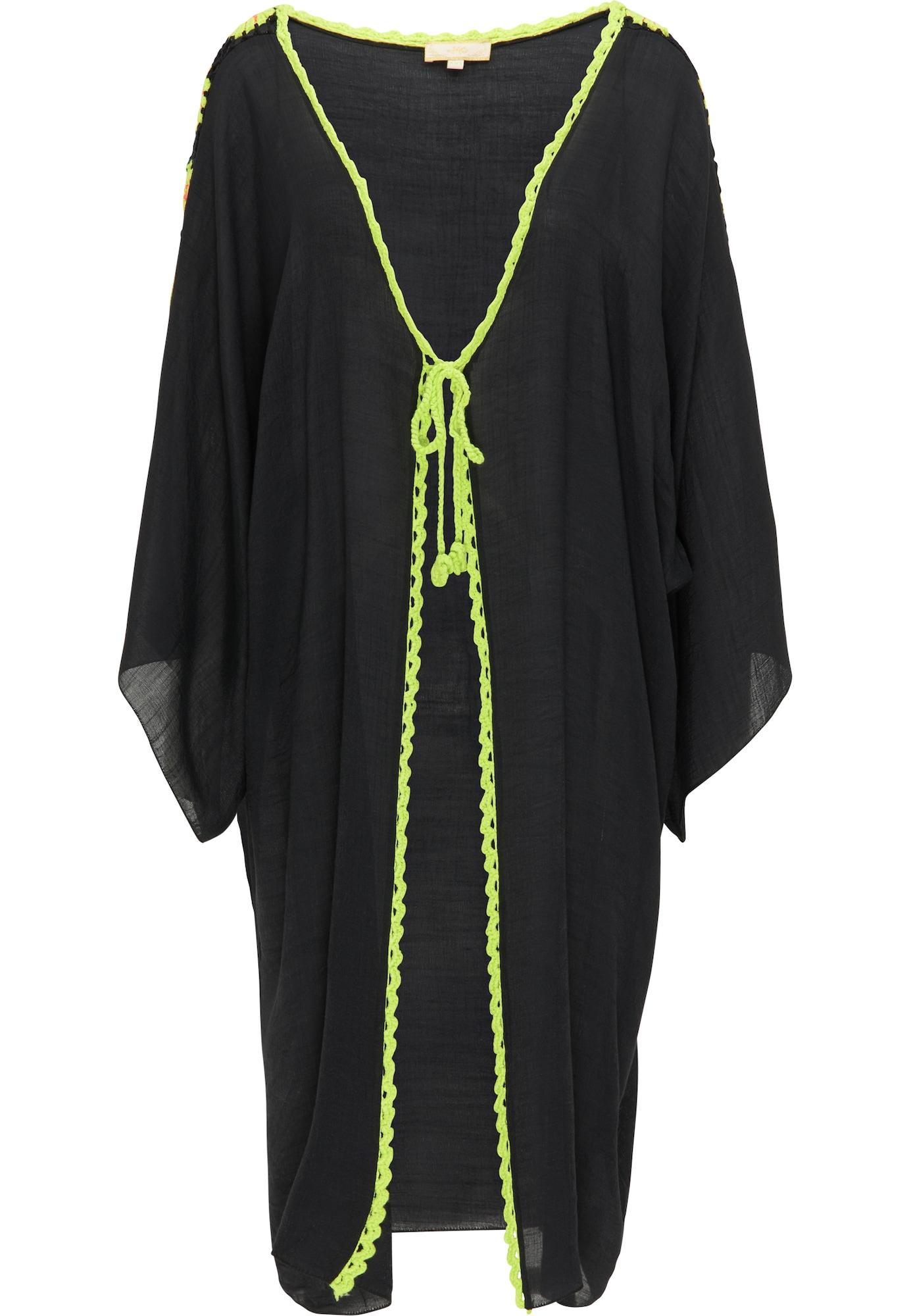 MYMO Kimono juoda / neoninė žalia / lašišų spalva