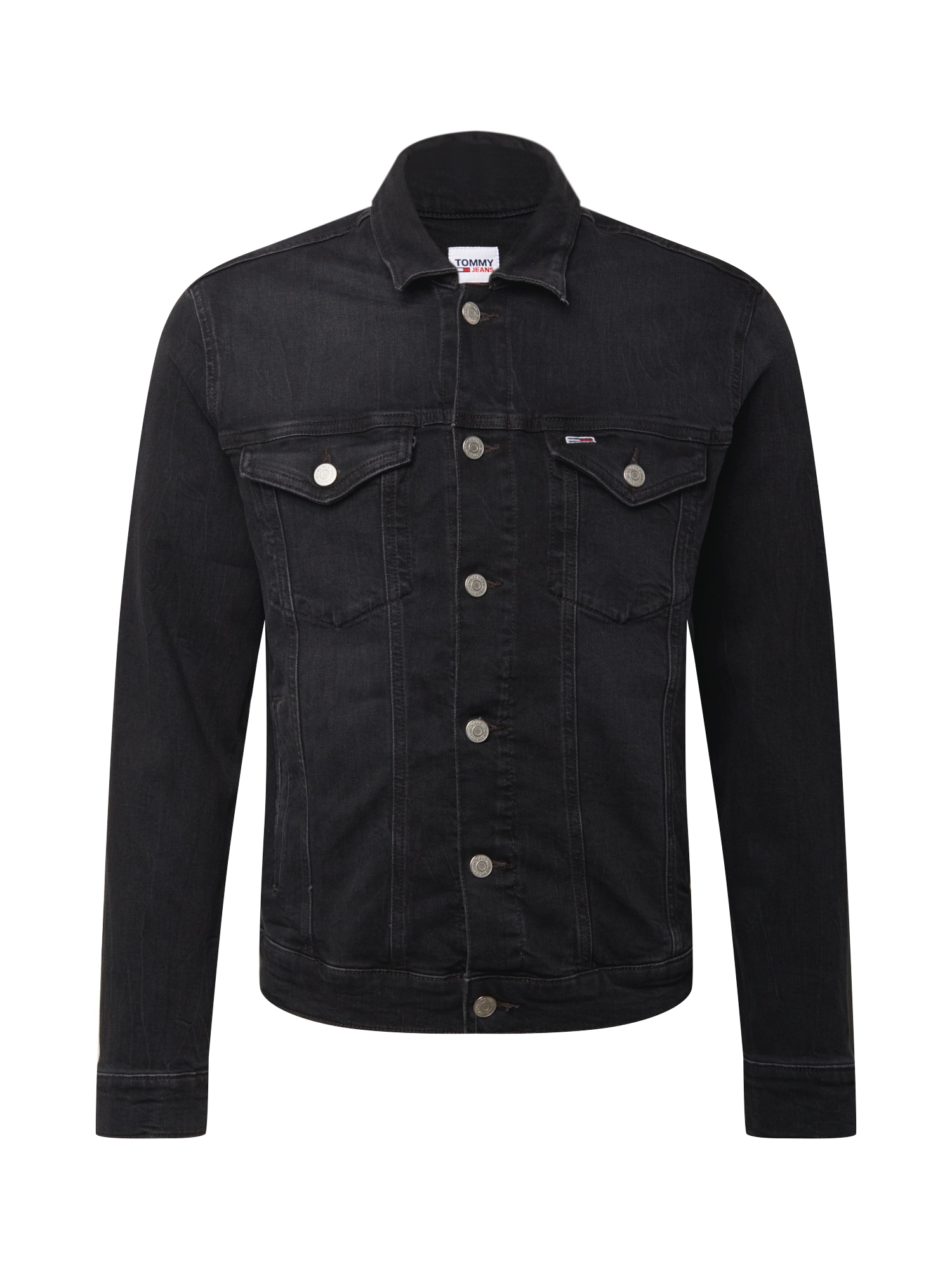 Tommy Jeans Demisezoninė striukė juodo džinso spalva