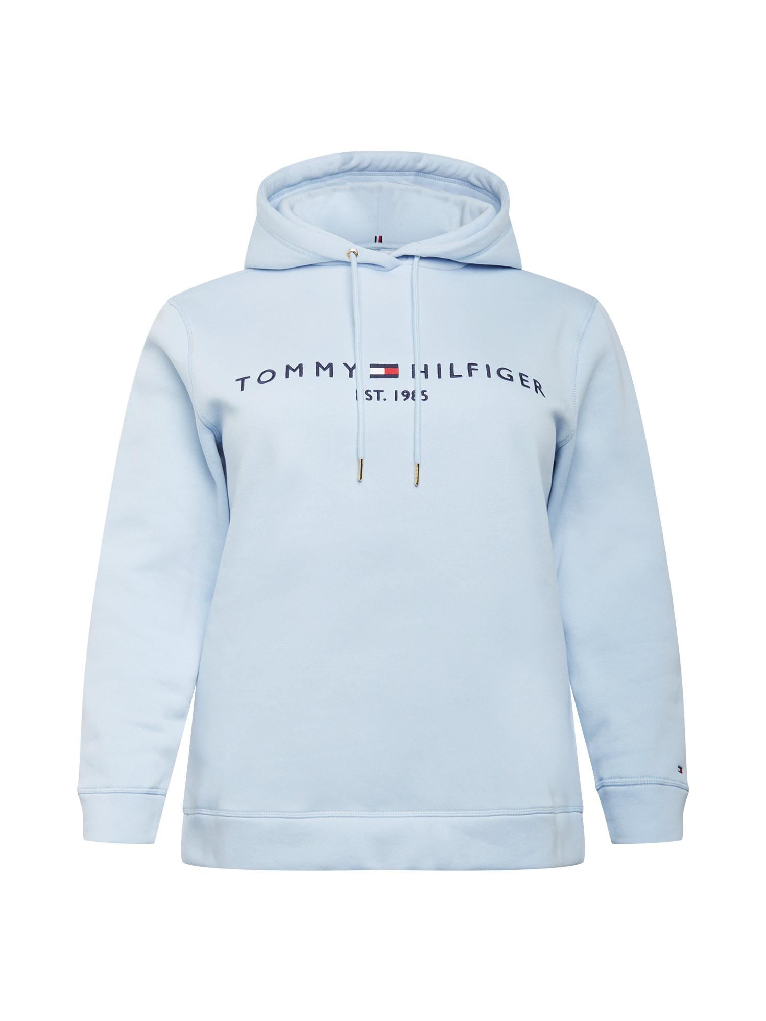 Tommy Hilfiger Curve Megztinis be užsegimo šviesiai mėlyna / tamsiai mėlyna jūros spalva / balta / raudona