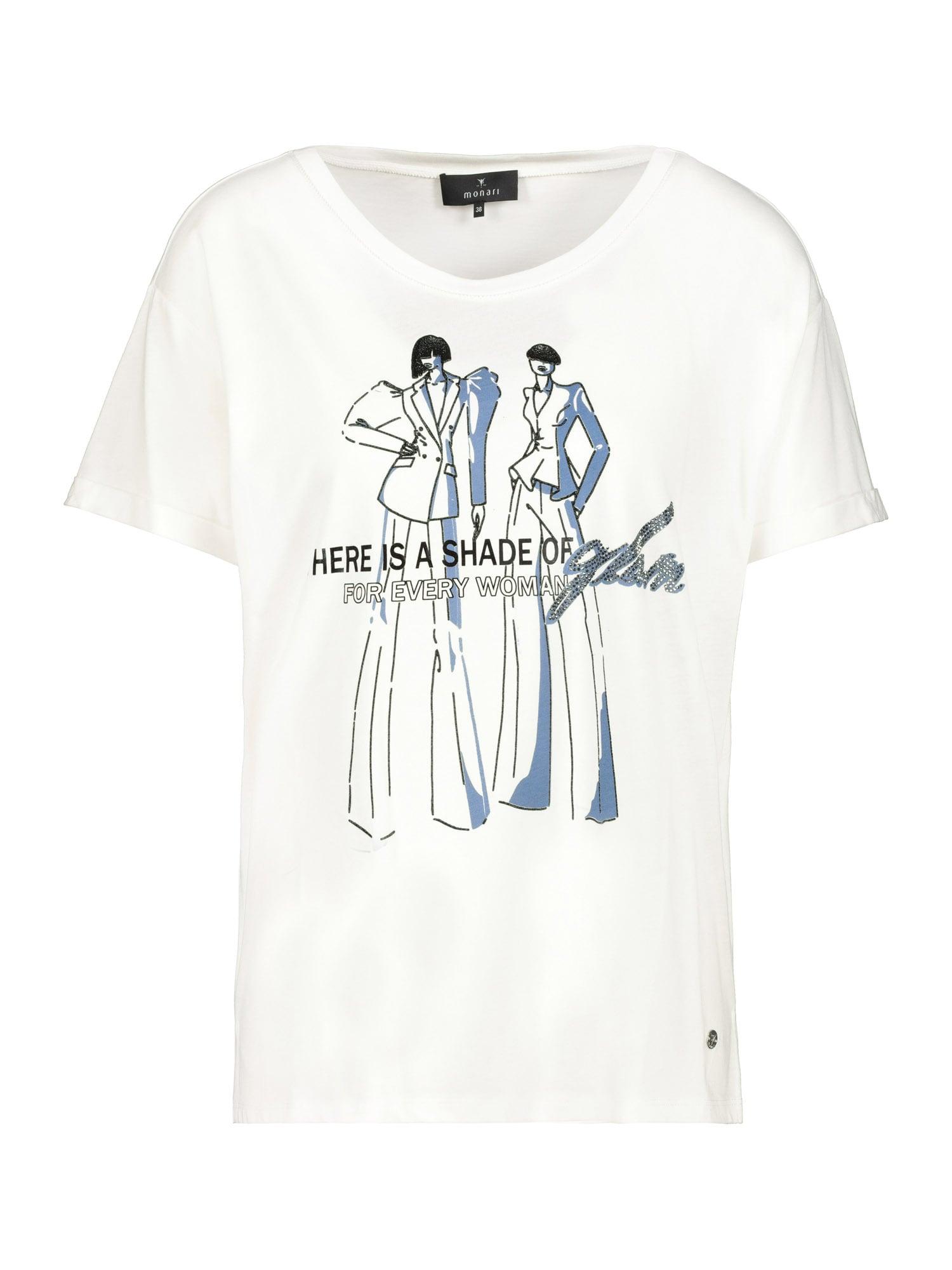 monari Marškinėliai balta / mėlyna dūmų spalva / juoda