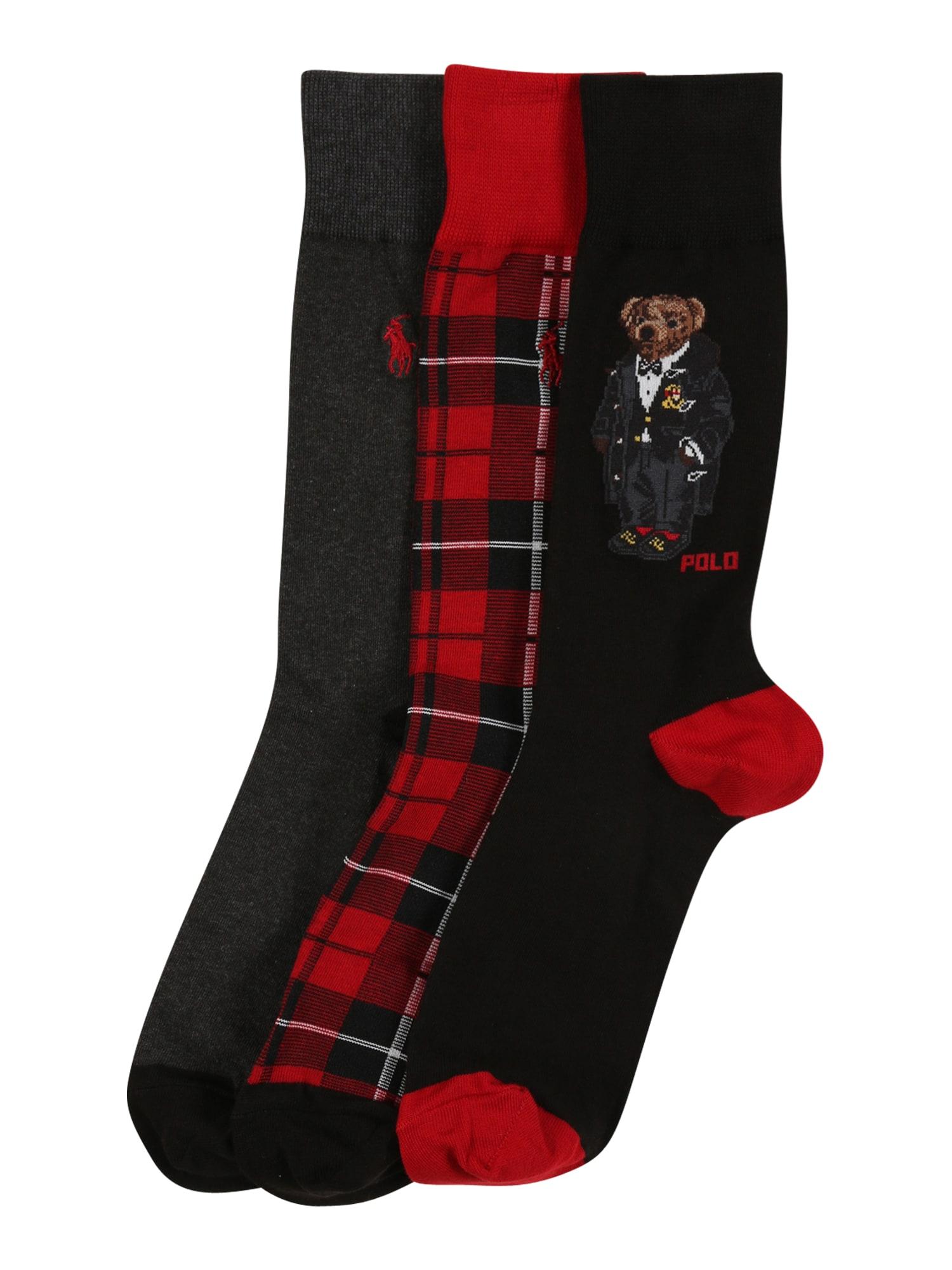 POLO RALPH LAUREN Ponožky 'HOLIDAY'  šedá / černá / červená / tmavě modrá / bílá