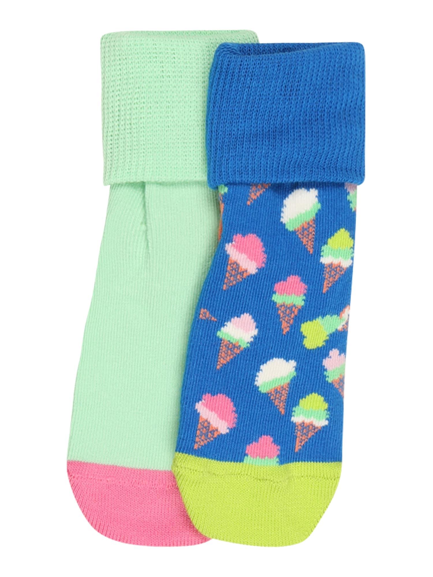 """Happy Socks Kojinės 'Ice Cream' mėtų spalva / balta / sodri mėlyna (""""karališka"""") / fuksijų spalva / koralų splava"""