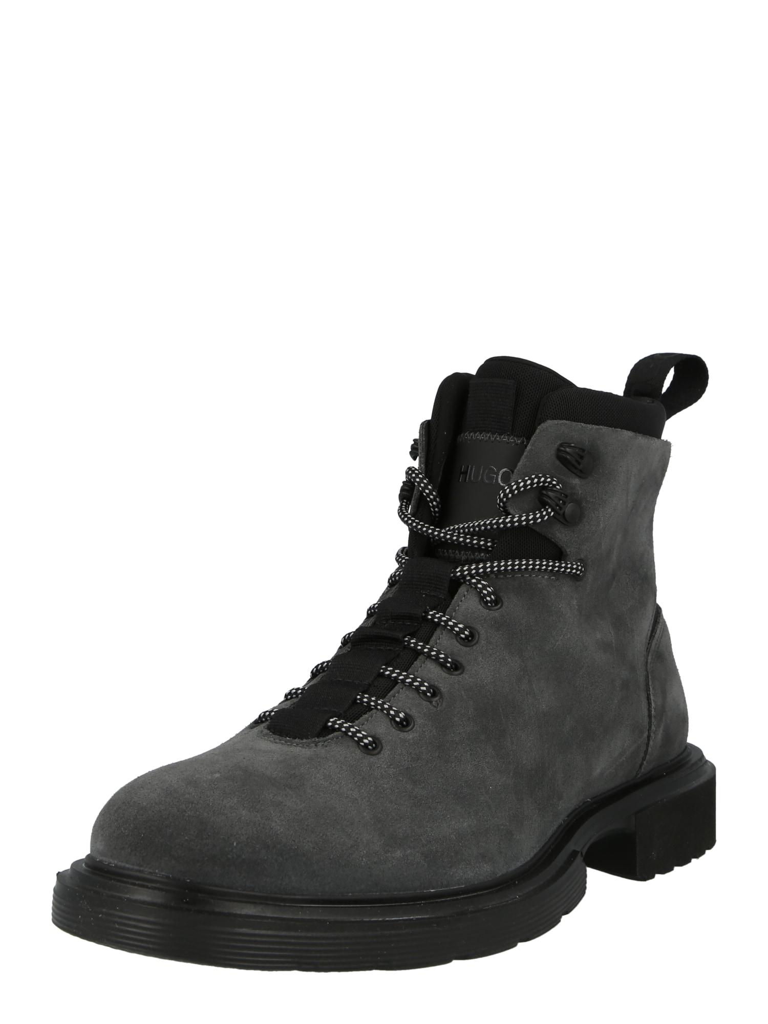 HUGO Auliniai batai su raišteliais tamsiai pilka
