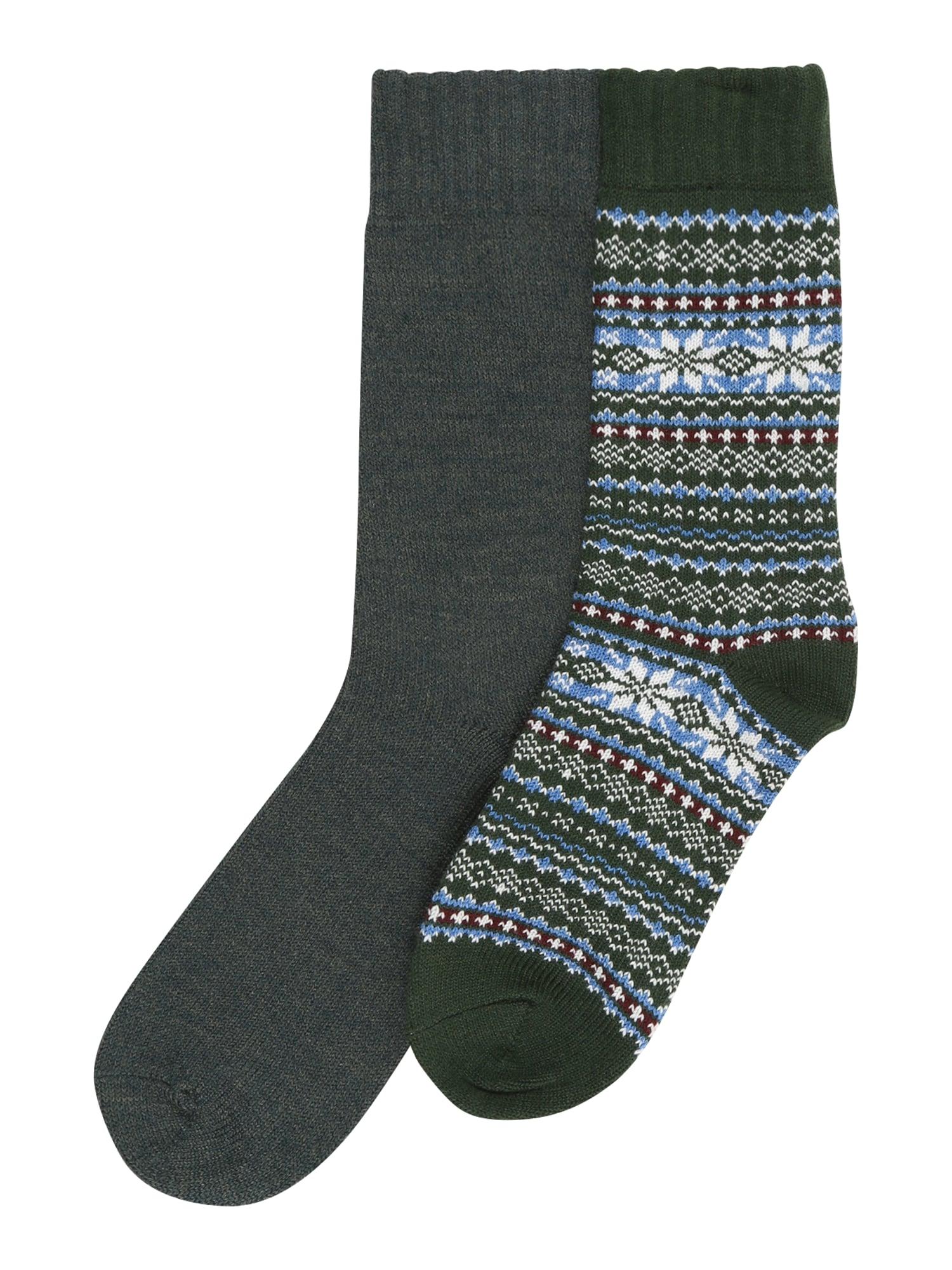 JACK & JONES Ponožky  tmavě zelená / tmavě šedá / bílá / světlemodrá